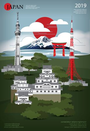 Poster Japan Landmark and Travel Attractions Vector Illustration