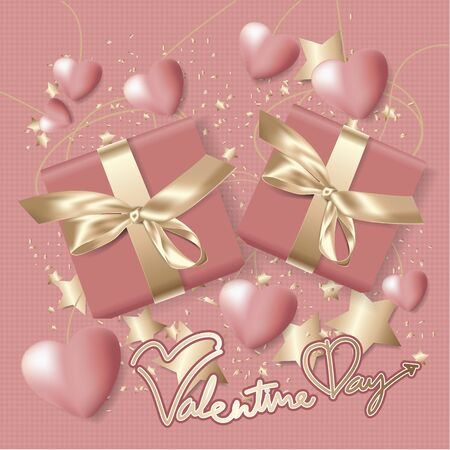 Valentine Day Celebration Background Template Vector Illustration Illusztráció