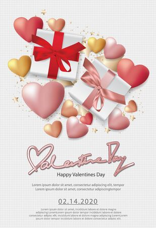 Valentine Day Celebration Poster Design Template Vector Illustration