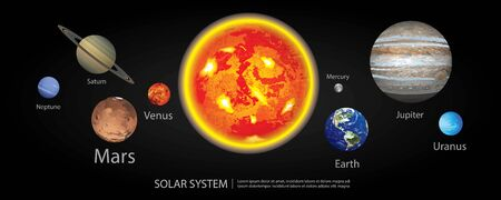 Solar System of our Planets Vector Illustration Vetores