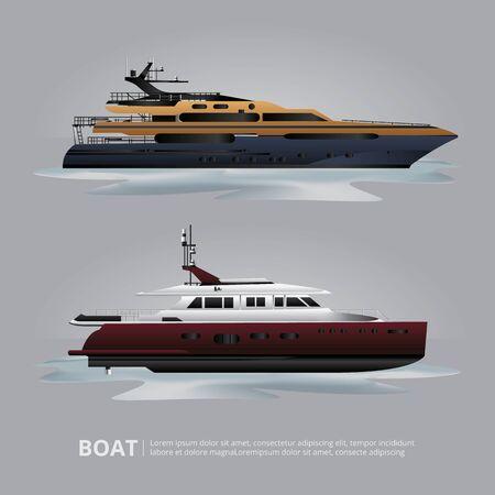Transportation Boat Tourist Yacht to Travel Vector Illustration Imagens - 146431873