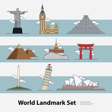The World Landmark Travel set Vector Illustration