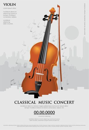 The Classical Music Concept Poster Violin Vector Illustration Imagens - 148239892