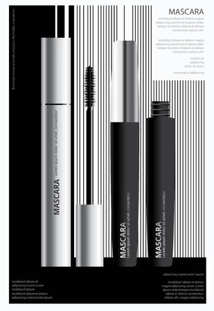 Poster Cosmetic Mascara with Packaging Vector Illustration Banco de Imagens - 148239897