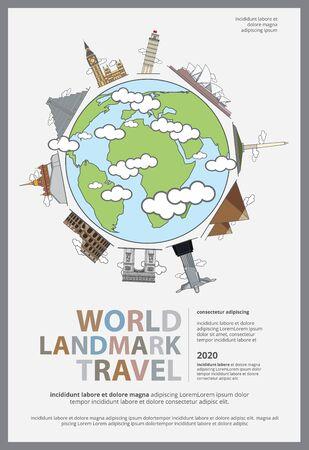 The World Landmark Travel Poster Design Template Vector Illustration