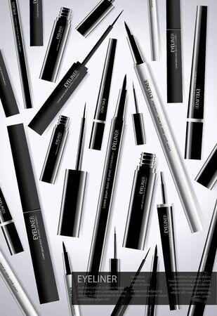 Poster Cosmetic Eyeliner with Packaging background Template Vector Illustration Ilustração