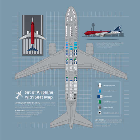 Set of Airplane with Seat Map Isolated Vector Illustration Imagens - 151116818