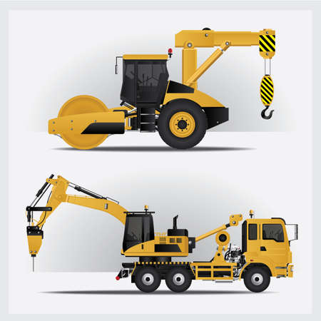 Construction Vehicles Vector Illustration Ilustração