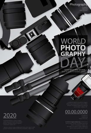 Poster Photography Day Design Template Vector Illustration