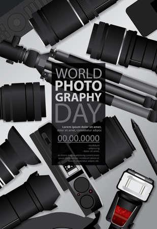 Poster Photography Day Design Template Vector Illustration Banco de Imagens - 151114890