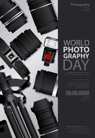 Poster Photography Day Design Template Vector Illustration Imagens - 151114912