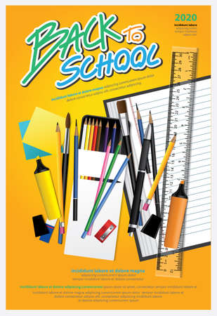 Poster Back to School Design Template Vector Illustration