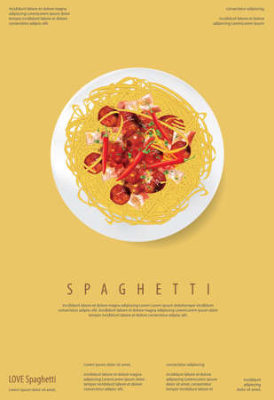 Spaghetti Food Poster Deign Template Vector Illustration