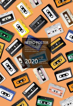 Vintage Retro Cassette Tape Poster Design Template Vector Illustration Ilustração