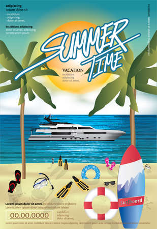 Summer and Vacation Time Travel Poster Design Template Vector Illustration Imagens - 151114919
