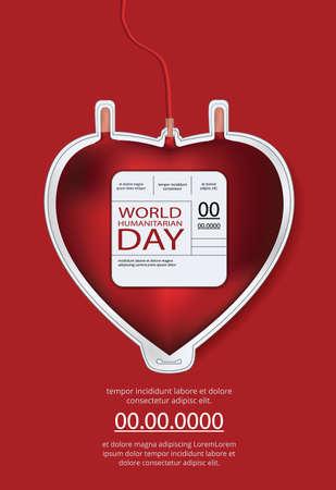 Poster World humanitarian day Design Template Vector Illustration Ilustração