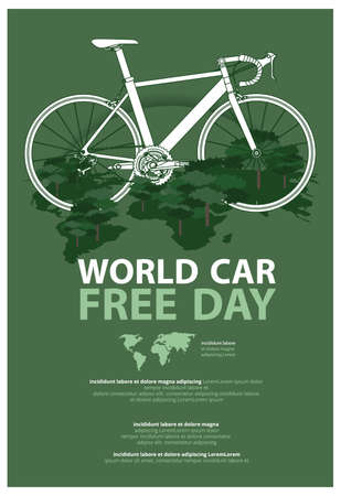 World Car Free Day Poster Advertising Template Vector Illustration Imagens - 152697165