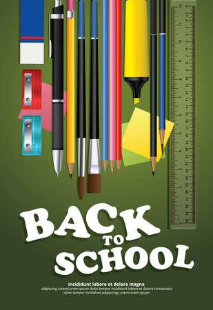 Poster Back to School Design Template Vector Illustration Imagens - 152609545