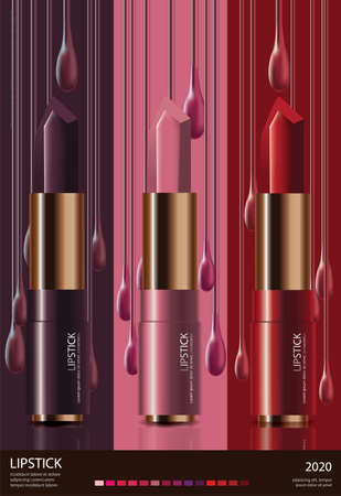 Poster Template Design Cosmetic Lipstick Vector Illustration
