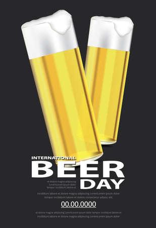 Poster International Beer day Template Design Vector Illustration Ilustração