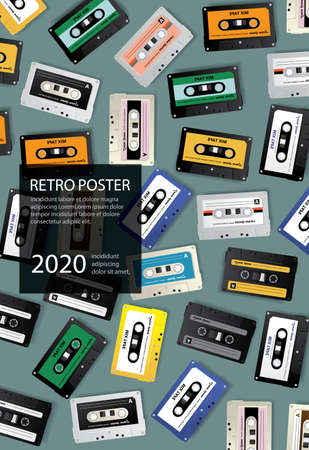 Vintage Retro Cassette Tape Poster Design Template Vector Illustration Imagens - 152697302