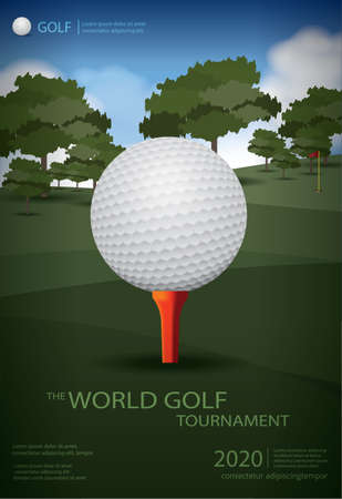 Poster Golf Champion Template Design Vector Illustration Ilustração