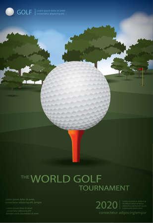 Poster Golf Champion Template Design Vector Illustration 向量圖像