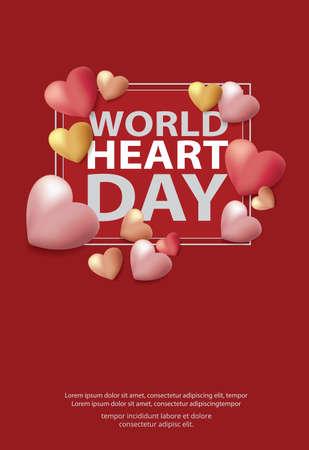 World Heart Day Poster Design Template Vector Illustration