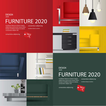 2 Banner Furniture Sale Advertisement Flayers Vector Illustration Stock Illustratie