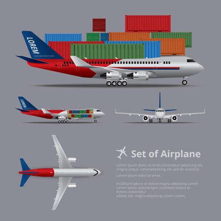 Cargo ship Airplane Isolated Vector Illustration Stock Illustratie