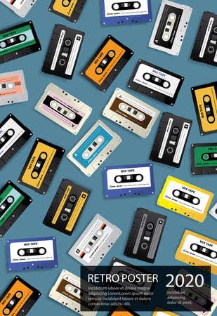 Vintage Retro Cassette Tape Poster Design Template Vector Illustration Stock Illustratie