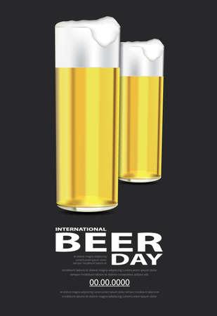 Poster International Beer day Template Design Vector Illustration 向量圖像