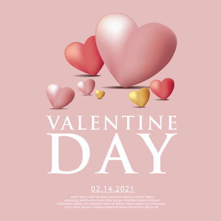 Valentine Day Celebration Background Template Vector Illustration 向量圖像