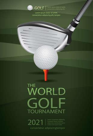 Poster Golf Champion Template Design Vector Illustration Ilustração