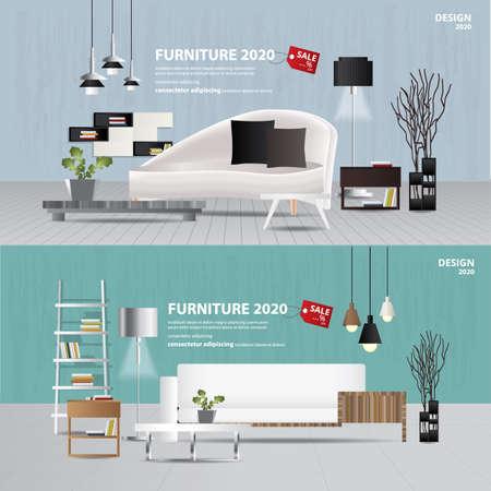 2 Banner Furniture Sale Advertisement Flayers Vector Illustration Ilustração
