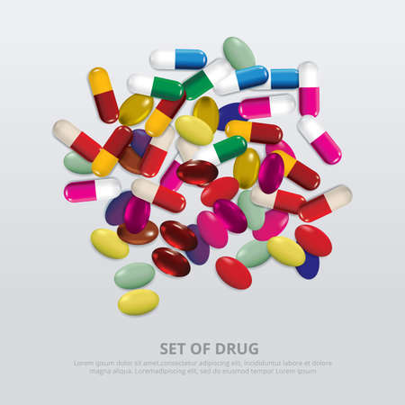 Group of Drug Realistic Vector Illustration