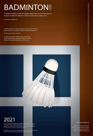 Badminton Championship Poster Vector illustration Ilustração