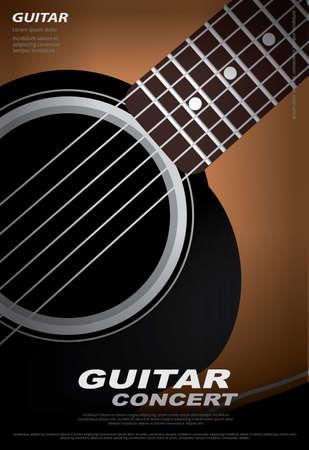 Guitar Concert Poster Background Template Vector Illustration Ilustração