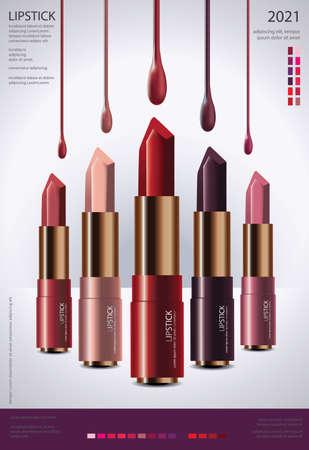 Poster Cosmetic Lipstick Vector Illustration Ilustração