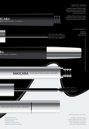 Poster Cosmetic Mascara with Packaging Vector Illustration