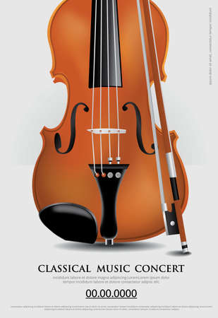 The Classical Music Concept Poster Violin Vector Illustration