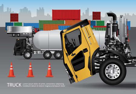 Set of Cargo Trucks Transportation with Container isolated Vector Illustration Ilustração