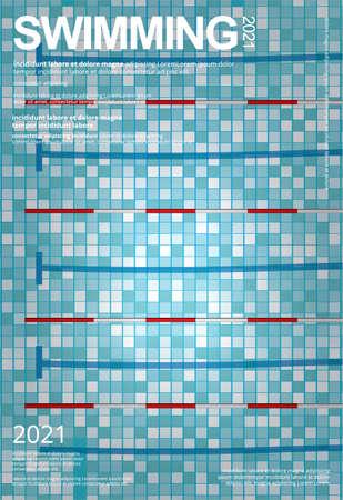 Swimming Sports Poster Design Template Vector Illustration
