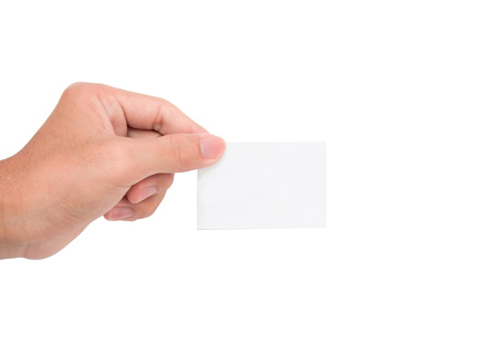 to interfere: A hand holding a white paper cardnote with white background Stock Photo
