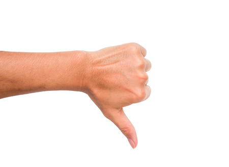 A hand sign of thumb point downward meaning bad, dislike, etc. with white backgroud