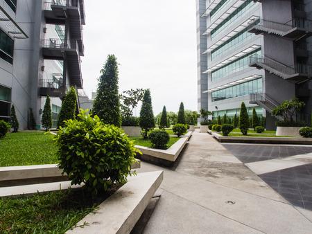 Garden of a modern building