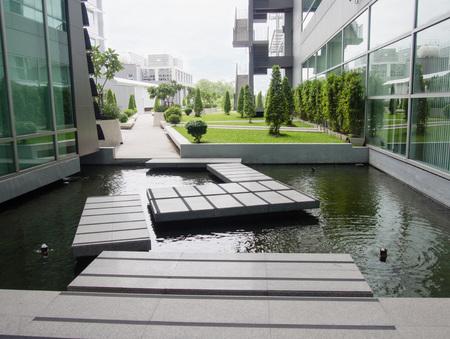 water garden: On water, walk path to a garden