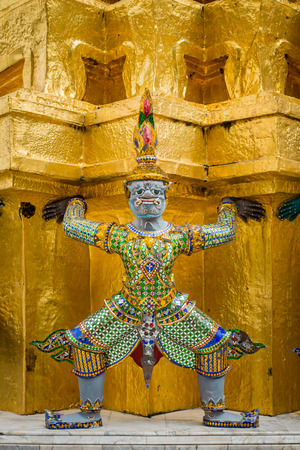 Demons which supports the golden chedi in wat phra kaew