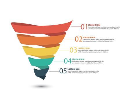 Zakelijke infographics met stadia van een verkooptrechter
