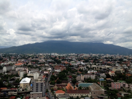 eye: Landscape Chiang Mai city, high angle